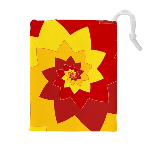 Flower Blossom Spiral Design  Red Yellow Drawstring Pouches (Extra Large)