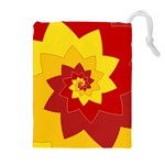 Flower Blossom Spiral Design  Red Yellow Drawstring Pouches (Extra Large) Front