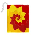 Flower Blossom Spiral Design  Red Yellow Drawstring Pouches (Extra Large) Back