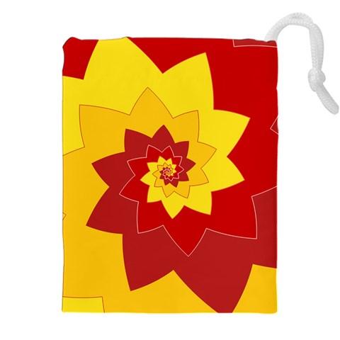 Flower Blossom Spiral Design  Red Yellow Drawstring Pouches (XXL)