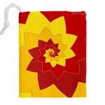Flower Blossom Spiral Design  Red Yellow Drawstring Pouches (XXL) Back