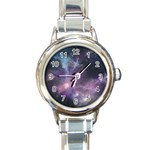 Blue Galaxy  Round Italian Charm Watch Front