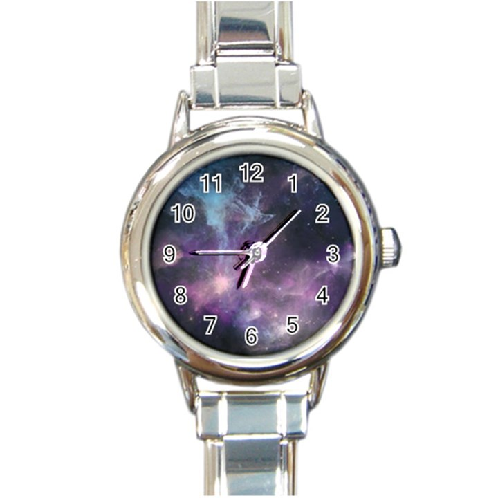 Blue Galaxy  Round Italian Charm Watch
