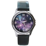Blue Galaxy  Round Metal Watch Front