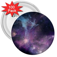 Blue Galaxy  3  Buttons (100 pack)