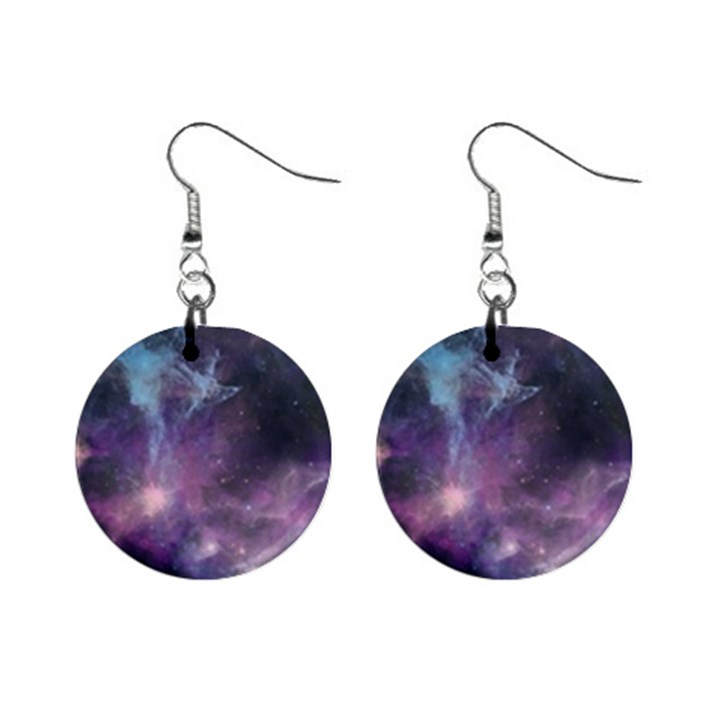 Blue Galaxy  Mini Button Earrings