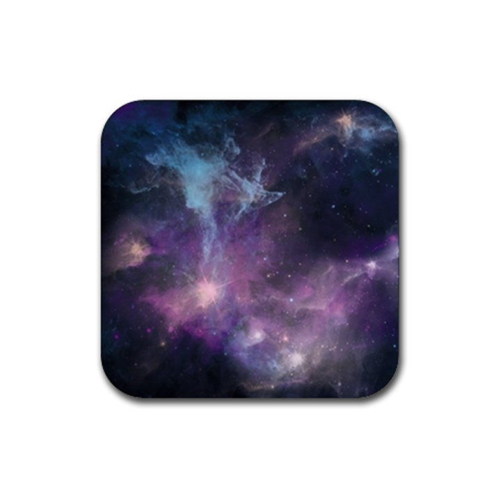 Blue Galaxy  Rubber Square Coaster (4 pack)