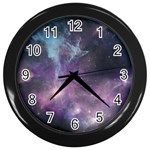 Blue Galaxy  Wall Clocks (Black) Front