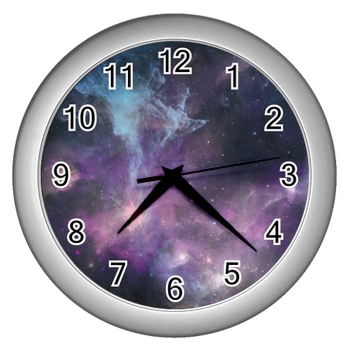 Blue Galaxy  Wall Clocks (Silver)
