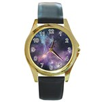 Blue Galaxy  Round Gold Metal Watch Front
