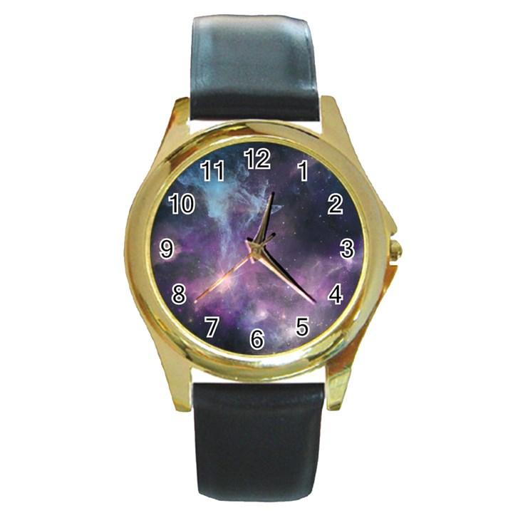 Blue Galaxy  Round Gold Metal Watch