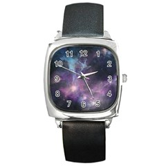 Blue Galaxy  Square Metal Watch