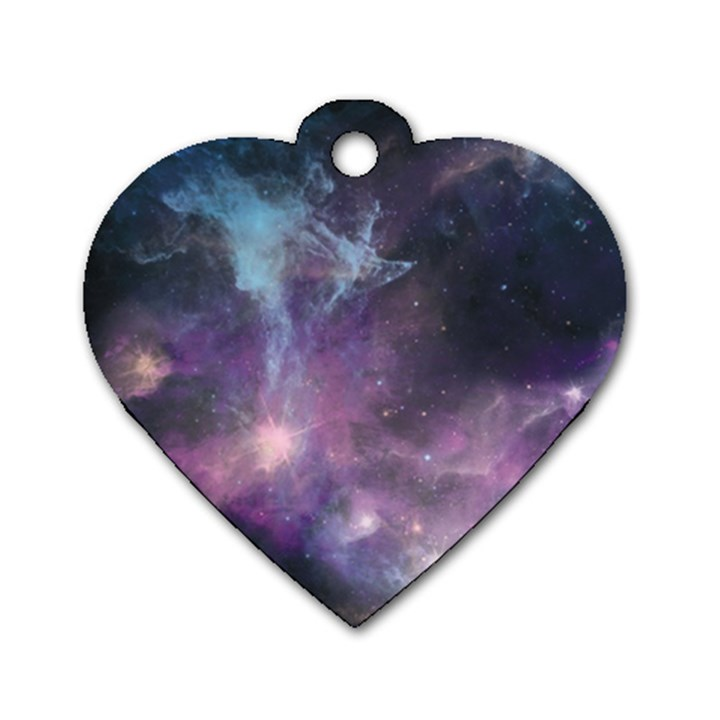 Blue Galaxy  Dog Tag Heart (Two Sides)