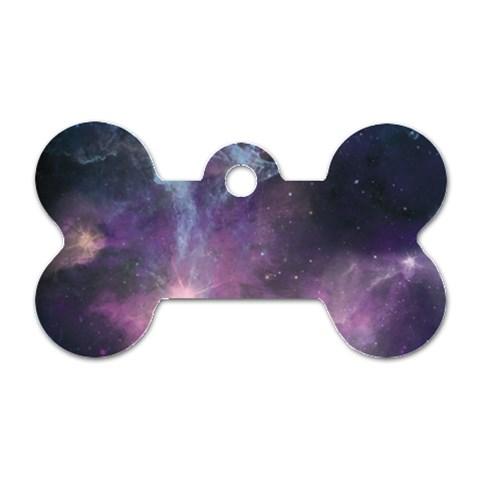 Blue Galaxy  Dog Tag Bone (Two Sides)