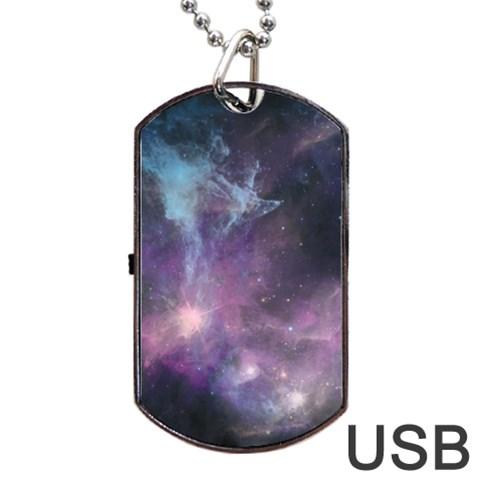 Blue Galaxy  Dog Tag USB Flash (Two Sides)