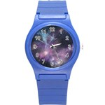 Blue Galaxy  Round Plastic Sport Watch (S) Front