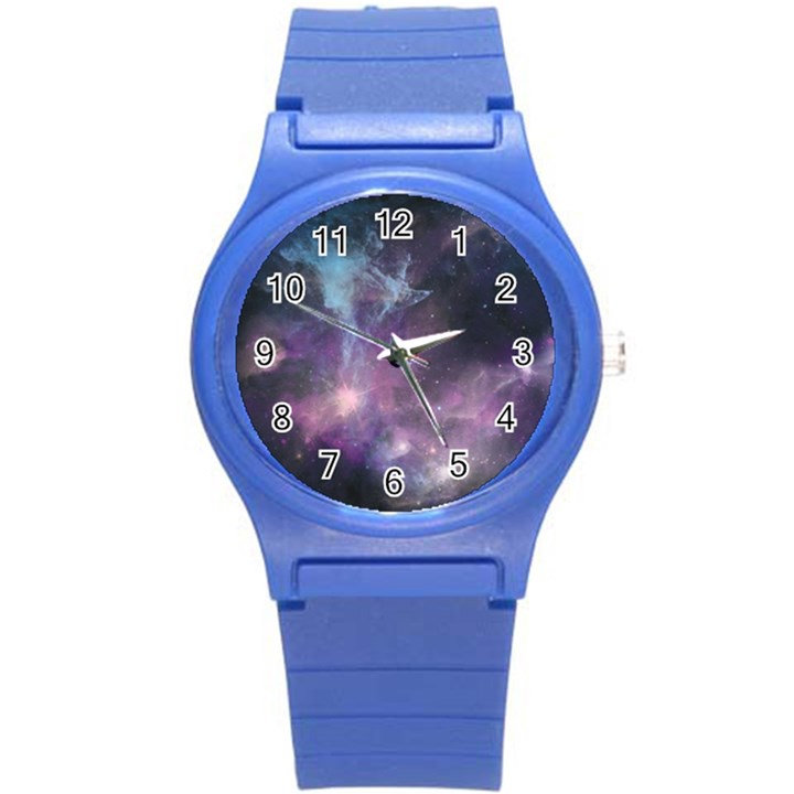 Blue Galaxy  Round Plastic Sport Watch (S)