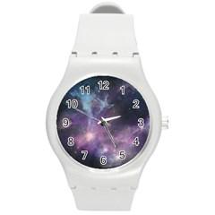 Blue Galaxy  Round Plastic Sport Watch (M)