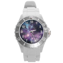Blue Galaxy  Round Plastic Sport Watch (L)