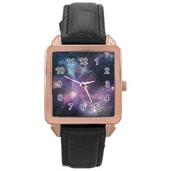 Blue Galaxy  Rose Gold Leather Watch