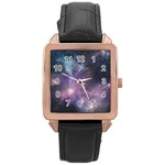 Blue Galaxy  Rose Gold Leather Watch  Front