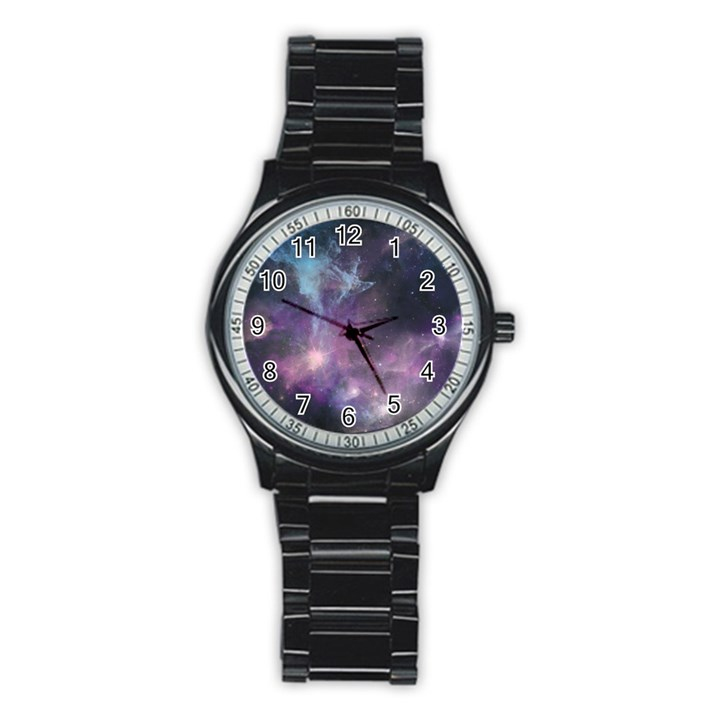 Blue Galaxy  Stainless Steel Round Watch