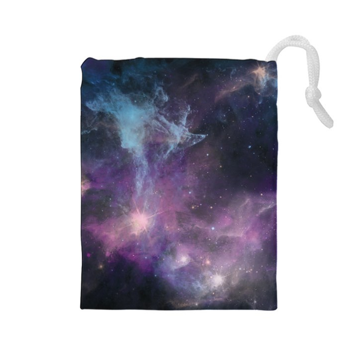Blue Galaxy  Drawstring Pouches (Large)