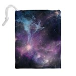 Blue Galaxy  Drawstring Pouches (Extra Large) Back