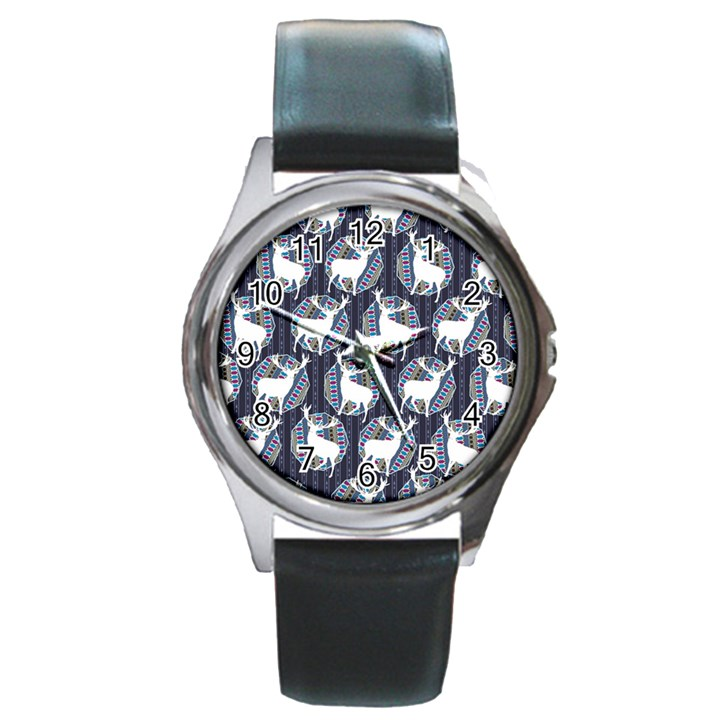 Geometric Deer Retro Pattern Round Metal Watch