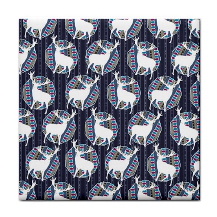 Geometric Deer Retro Pattern Tile Coasters