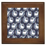 Geometric Deer Retro Pattern Framed Tiles Front