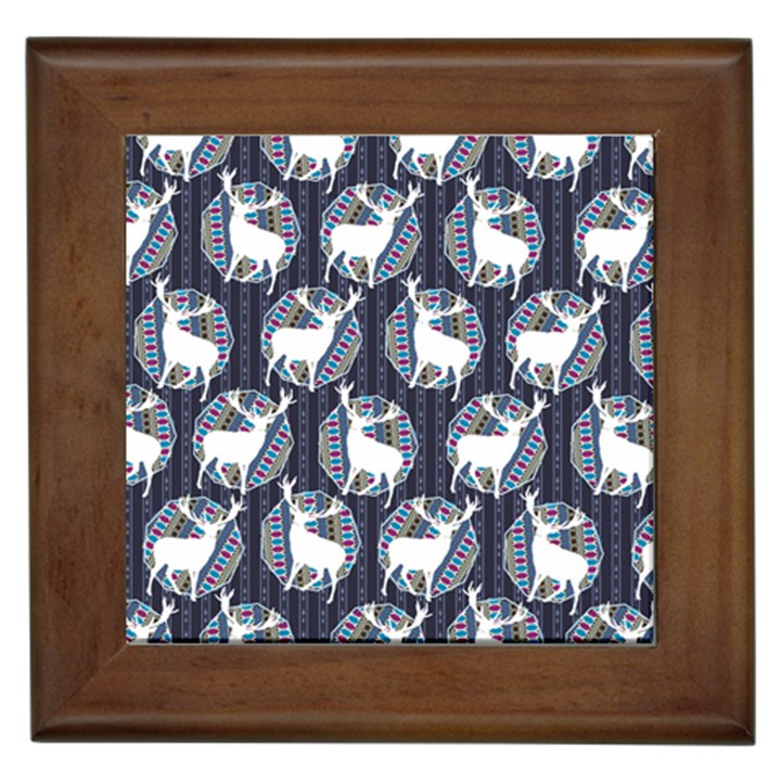 Geometric Deer Retro Pattern Framed Tiles