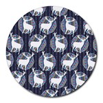 Geometric Deer Retro Pattern Round Mousepads Front