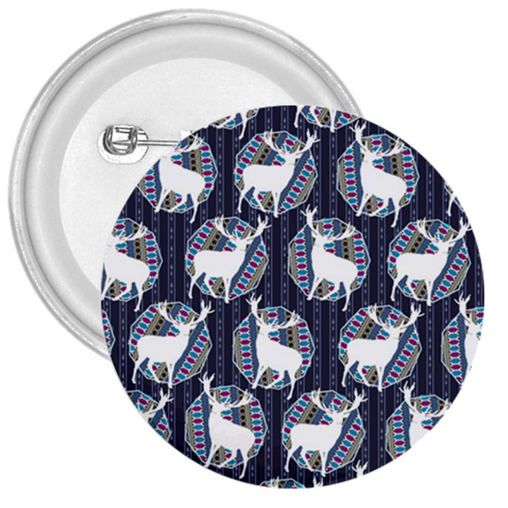 Geometric Deer Retro Pattern 3  Buttons