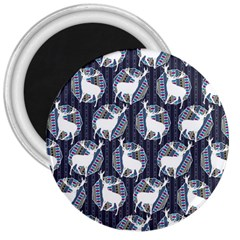 Geometric Deer Retro Pattern 3  Magnets