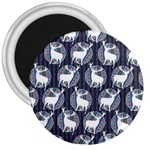 Geometric Deer Retro Pattern 3  Magnets Front