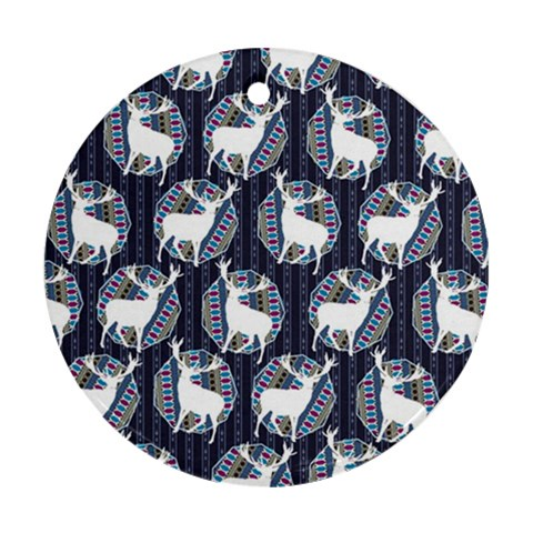 Geometric Deer Retro Pattern Ornament (Round)