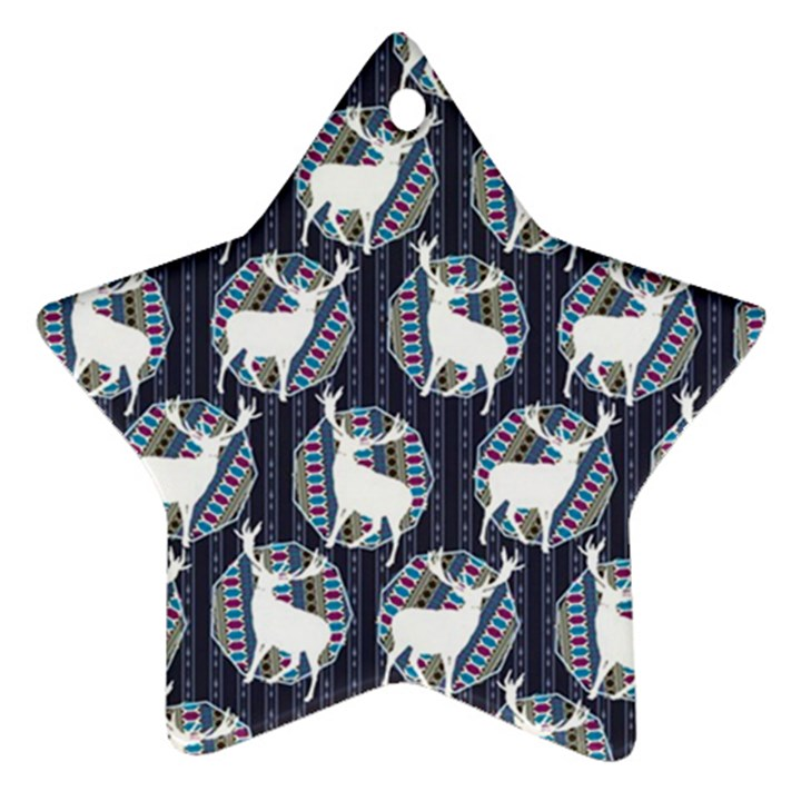 Geometric Deer Retro Pattern Ornament (Star)