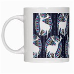Geometric Deer Retro Pattern White Mugs Left