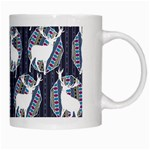 Geometric Deer Retro Pattern White Mugs Right