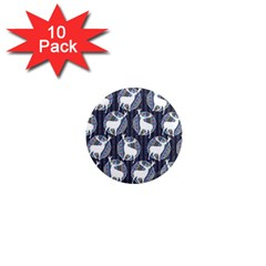 Geometric Deer Retro Pattern 1  Mini Magnet (10 Pack)