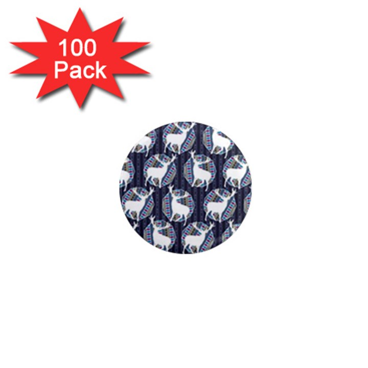 Geometric Deer Retro Pattern 1  Mini Magnets (100 pack)