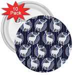 Geometric Deer Retro Pattern 3  Buttons (10 pack)  Front