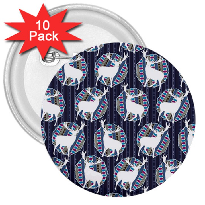 Geometric Deer Retro Pattern 3  Buttons (10 pack)
