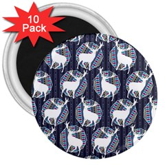 Geometric Deer Retro Pattern 3  Magnets (10 pack)