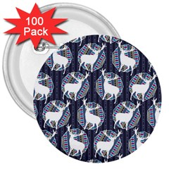 Geometric Deer Retro Pattern 3  Buttons (100 Pack)
