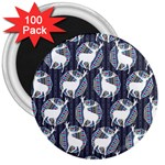 Geometric Deer Retro Pattern 3  Magnets (100 pack) Front