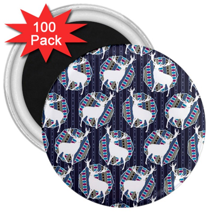 Geometric Deer Retro Pattern 3  Magnets (100 pack)