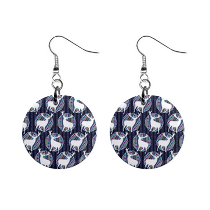 Geometric Deer Retro Pattern Mini Button Earrings