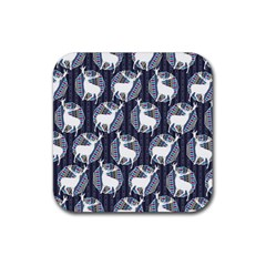 Geometric Deer Retro Pattern Rubber Square Coaster (4 pack)